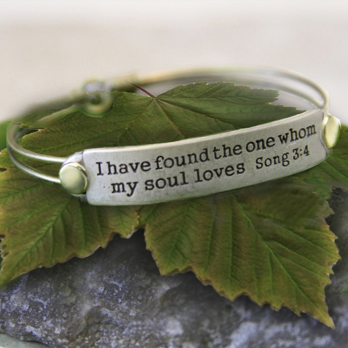 I Have Found the One Whom My Soul Loves Song 3:4 Inspirational Bible Verse Bracelet - Sweet Romance Wholesale