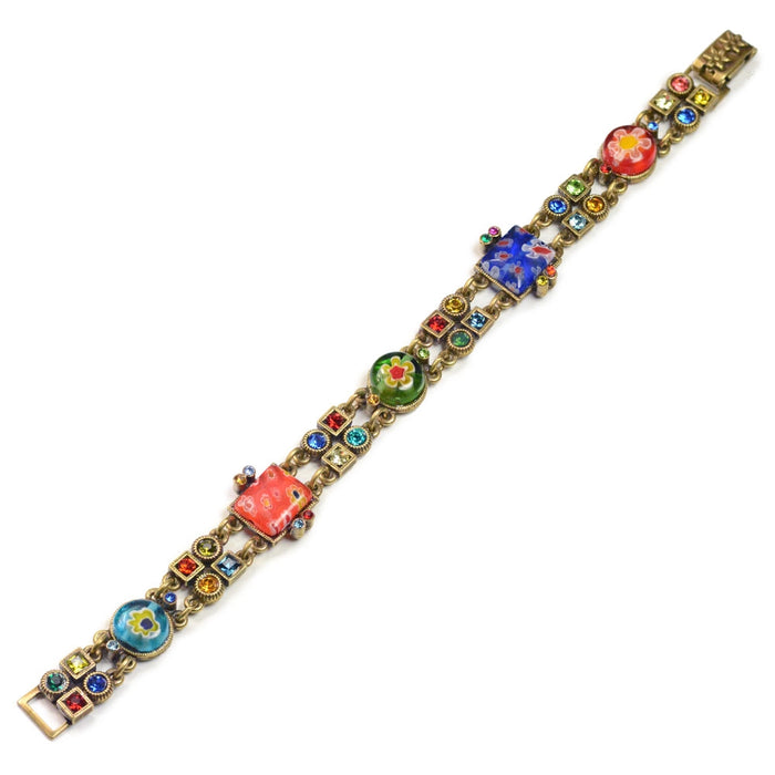Millefiori Glass Geometric Link Bracelet BR527 - Sweet Romance Wholesale