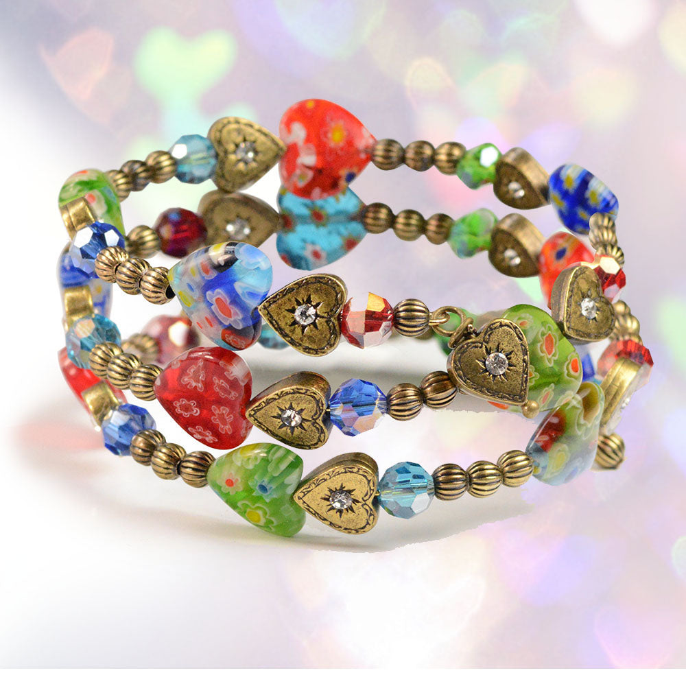 Millefiori Glass Candy Heart Wrap Bracelet BR559 - Sweet Romance Wholesale