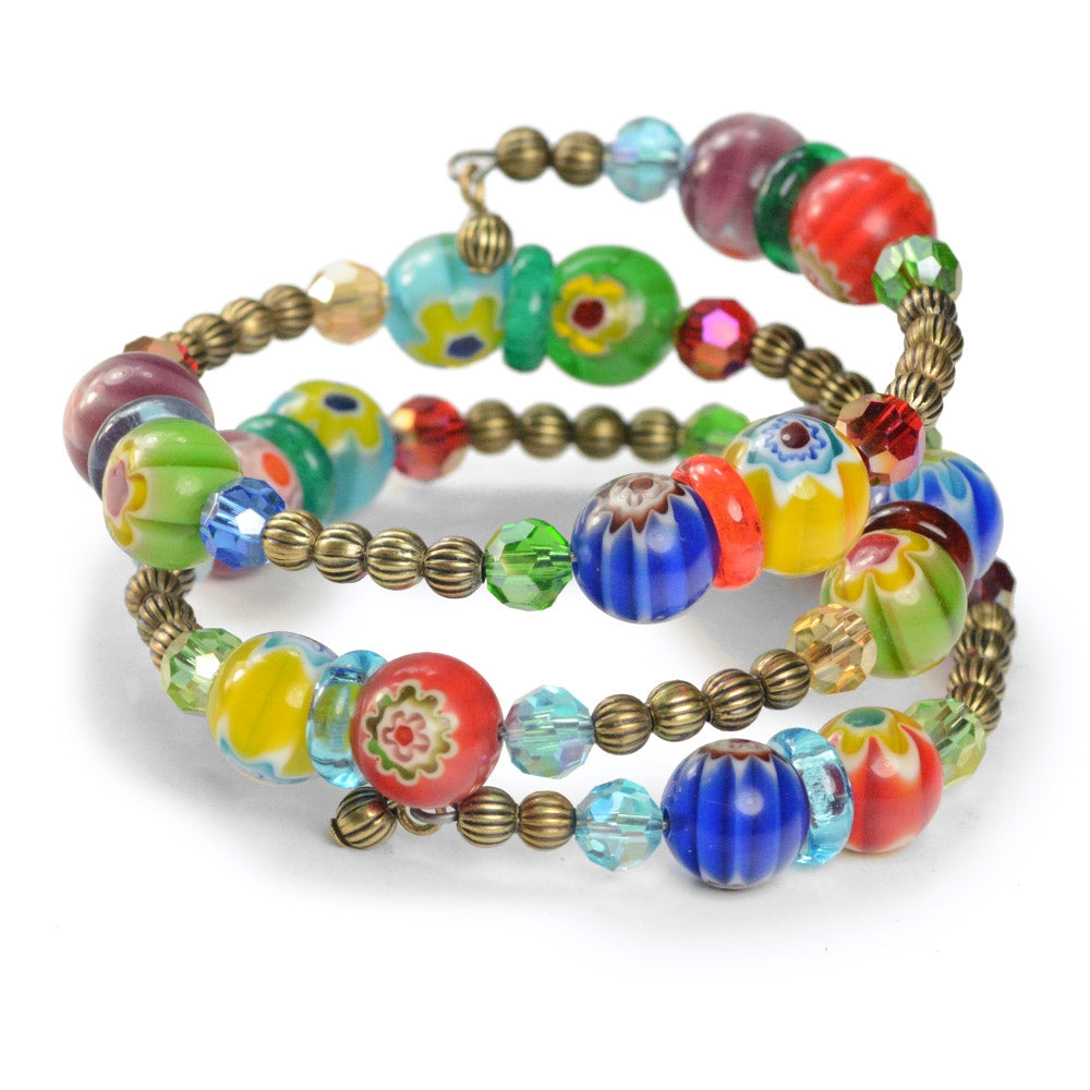 Millefiori Glass Candy Rainbow Bead Wrap Bracelet BR560