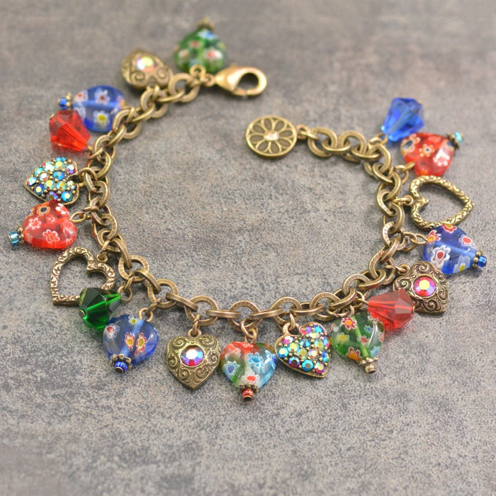 Candy Glass Hearts Charm Bracelet BR583 - Sweet Romance Wholesale