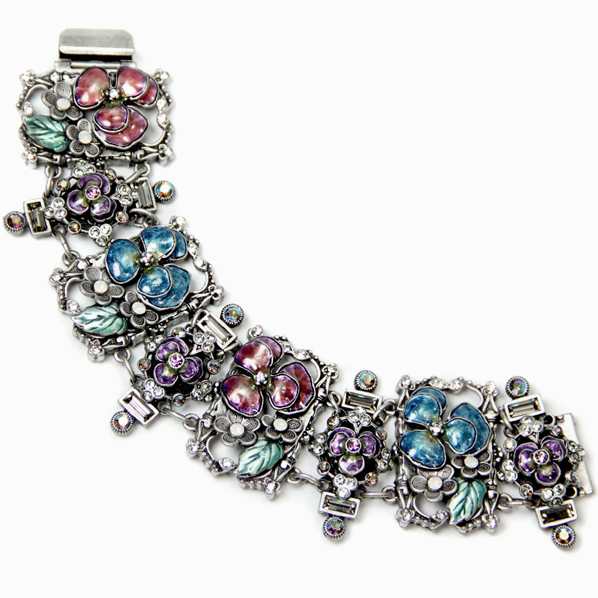 Enamel Pansies Retro Bracelet BR7055 - Sweet Romance Wholesale