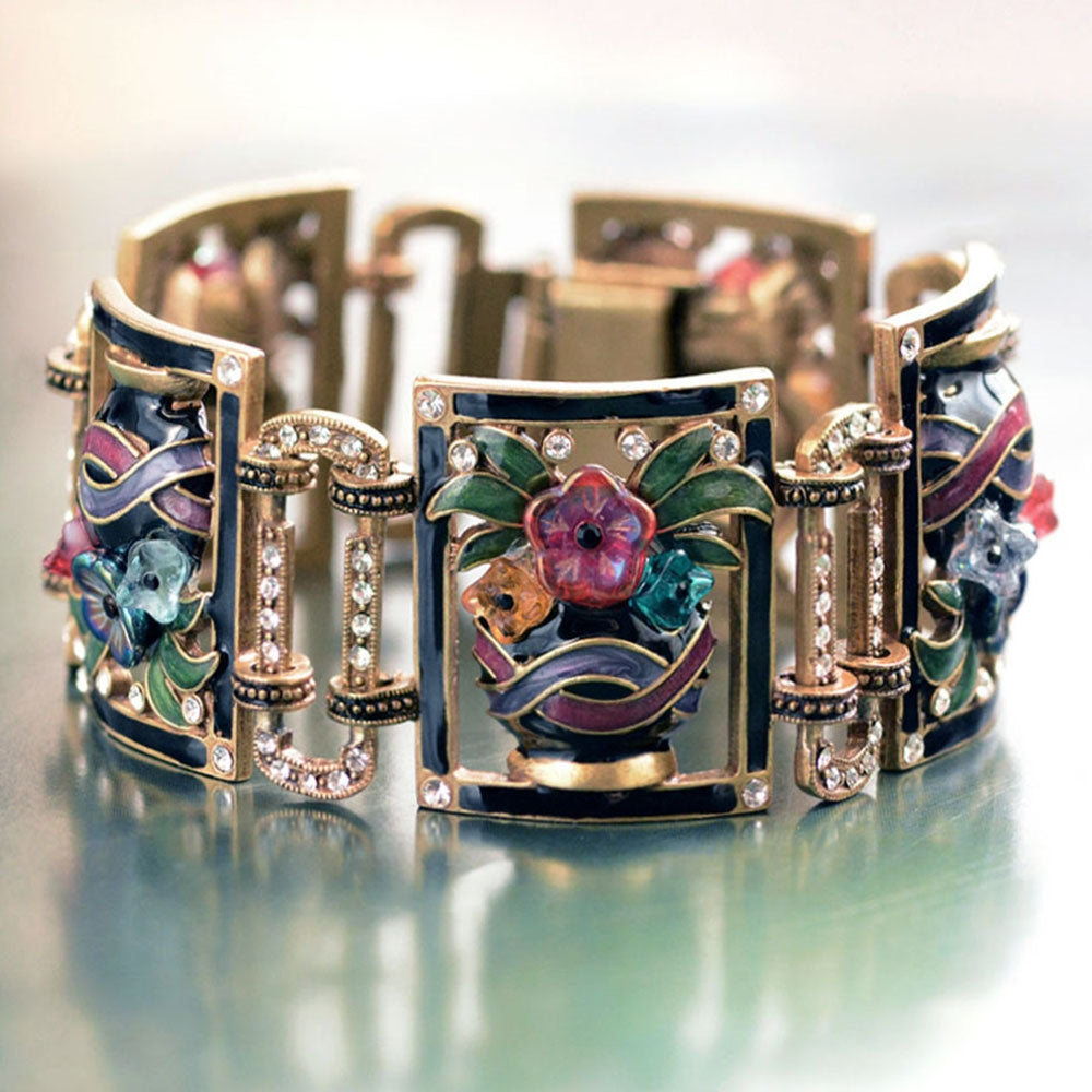 Art Deco Enamel Flower Vase Bracelet - Sweet Romance Wholesale