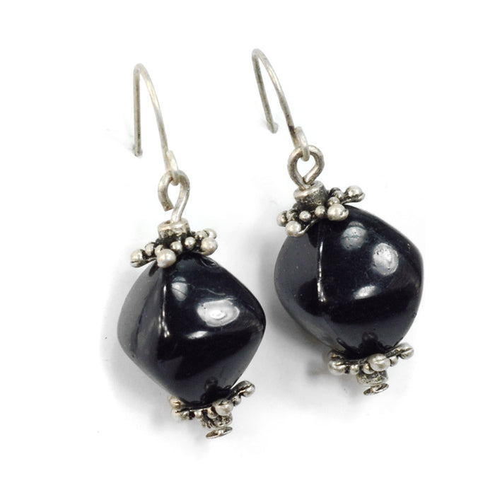 Jet Black Earrings E0319 - Sweet Romance Wholesale