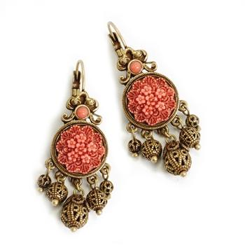 Coral Drop Earrings E1042 - Sweet Romance Wholesale