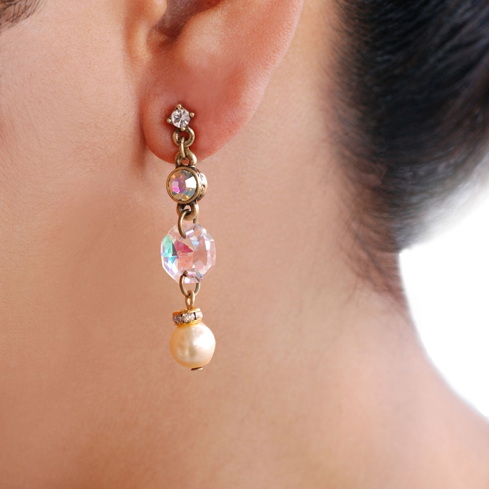 Crystal Pearl Earring E1059 - Sweet Romance Wholesale