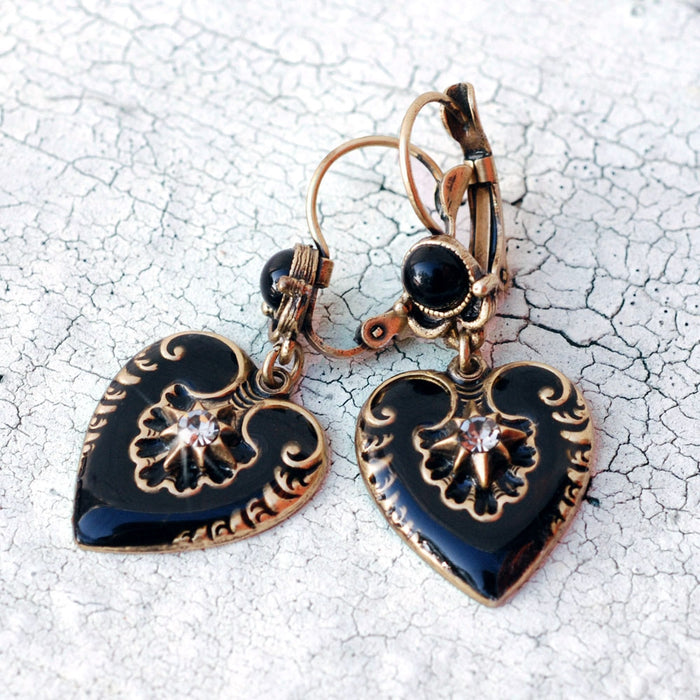 Black Enamel Hearts Earrings E1066 - Sweet Romance Wholesale