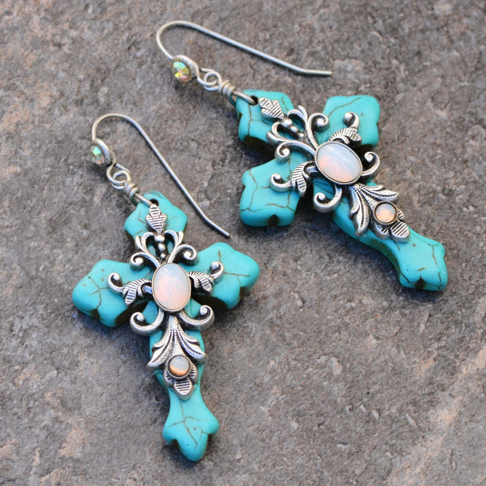 Turquoise Crosses Earrings E1098 - Sweet Romance Wholesale