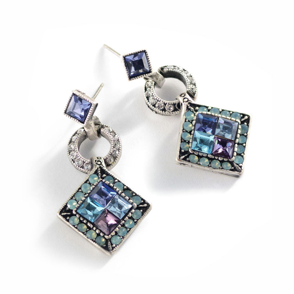 Art Deco Diamond Harlequin Wedding Earrings E1103 - Sweet Romance Wholesale