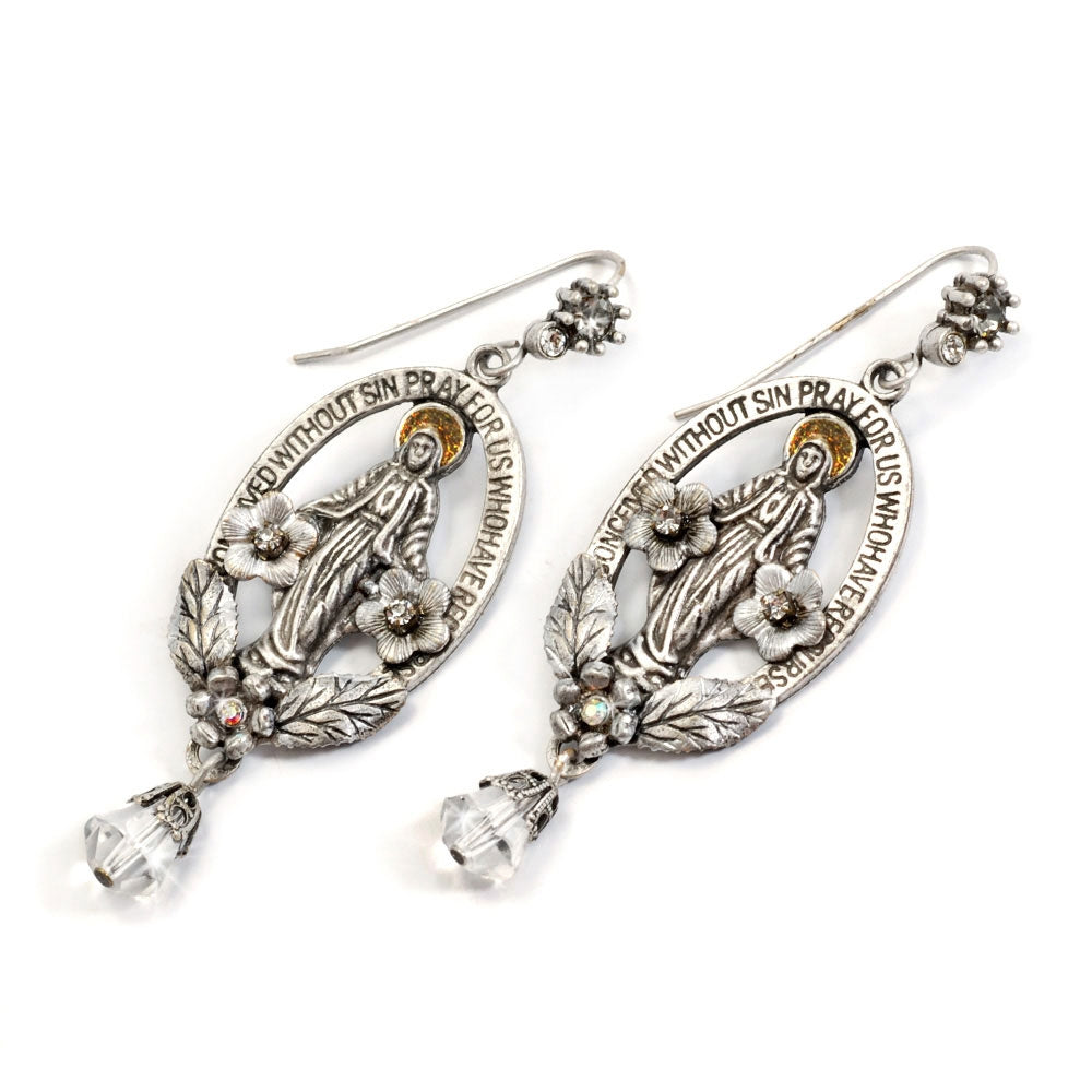 Madonna Mary Miraculous Medal Silver Earrings E1116 - Sweet Romance Wholesale