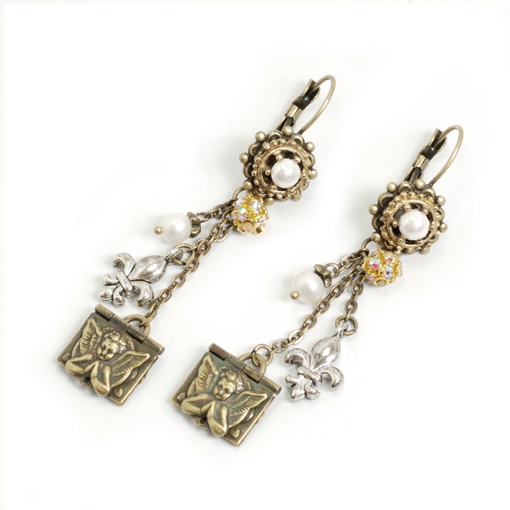 French Angel Locket Earrings E1118