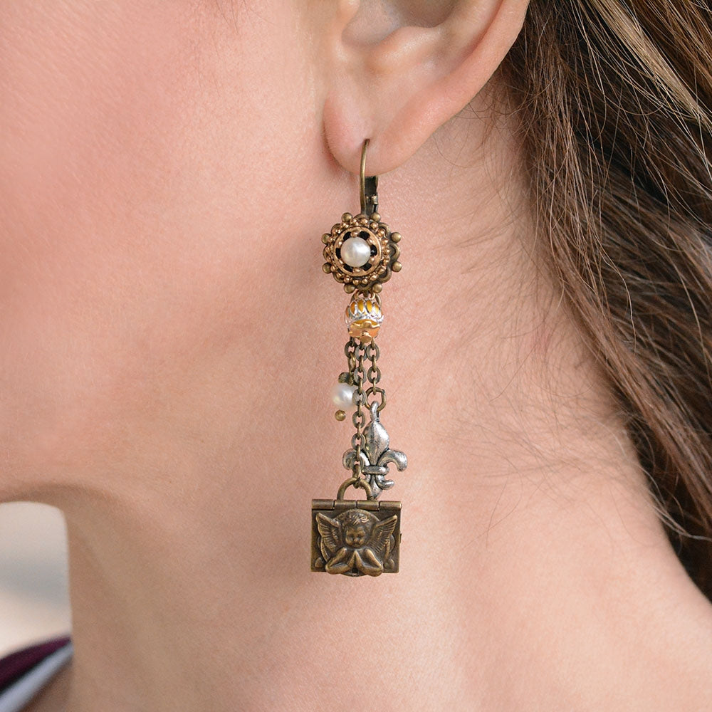 French Angel Locket Earrings E1118 - Sweet Romance Wholesale
