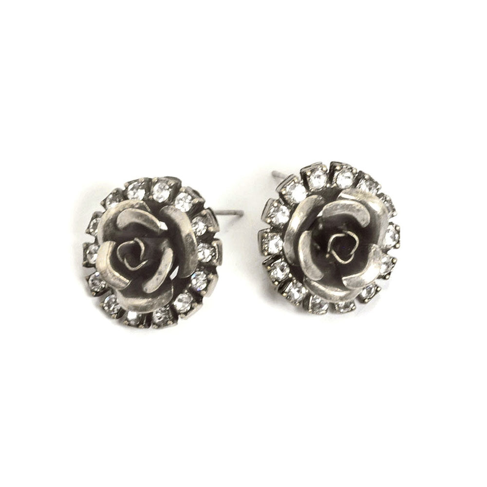 Crystal Rose Stud Earrings E1119-SIL - Sweet Romance Wholesale