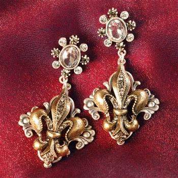 French Fleur De Lis Earrings E1121 - Sweet Romance Wholesale