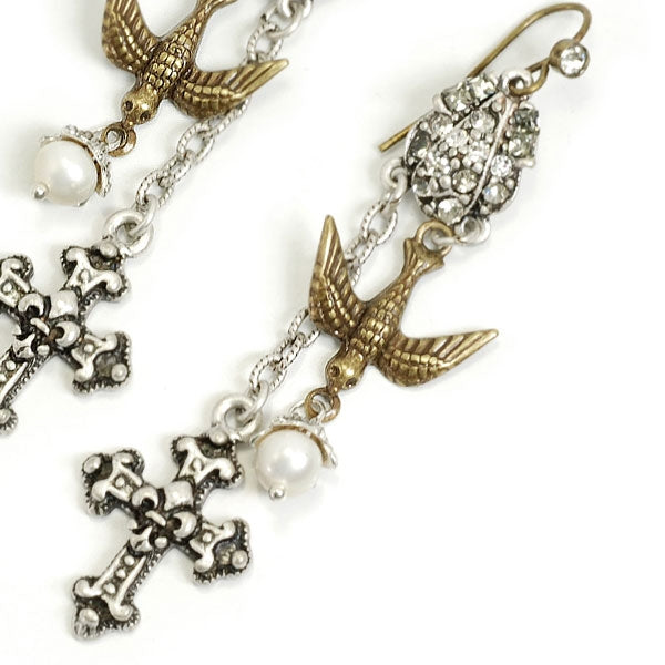 Cross & Holy Spirit Bird Earrings E1122