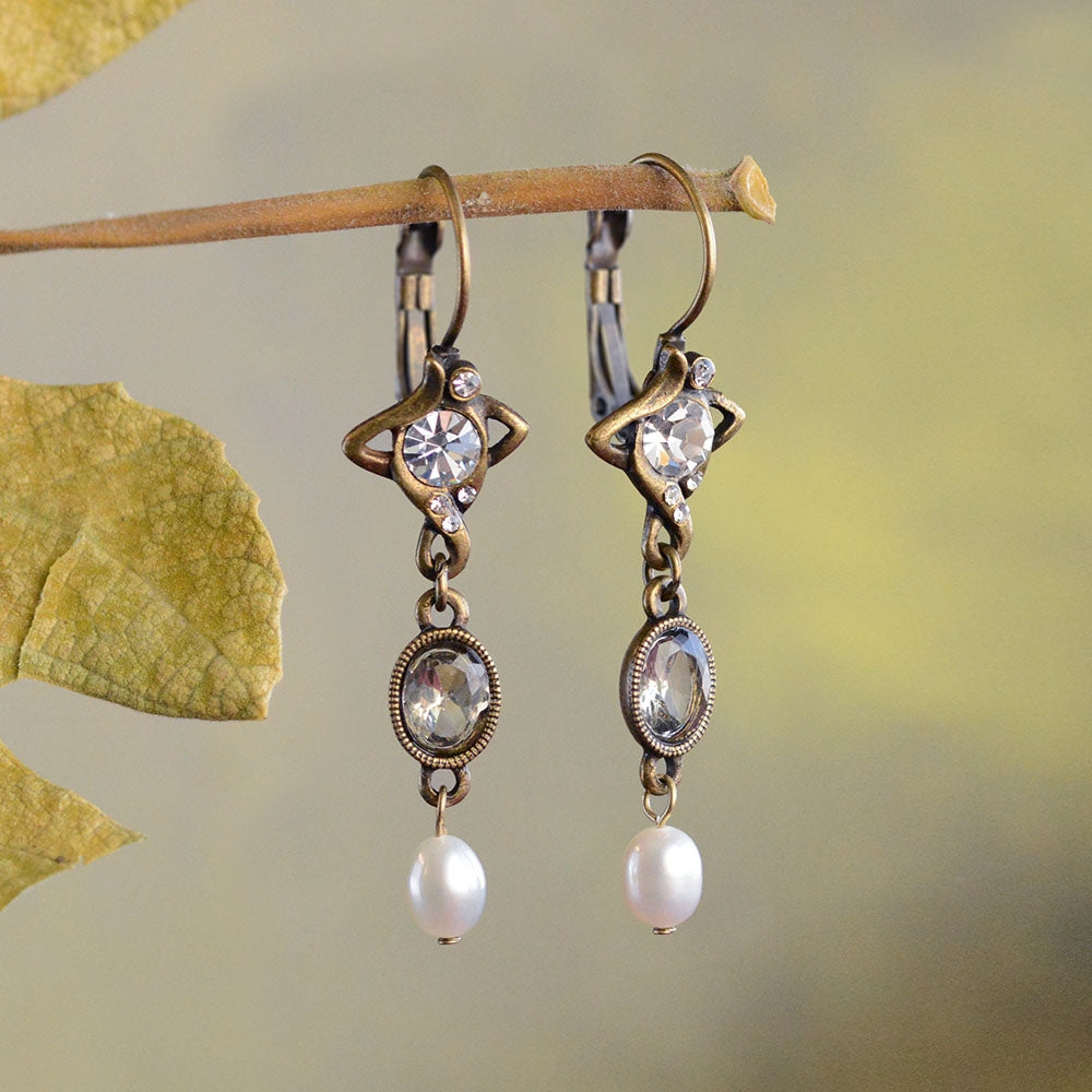 Crystal & Pearl Nouveau Drop Earrings E1126 - Sweet Romance Wholesale