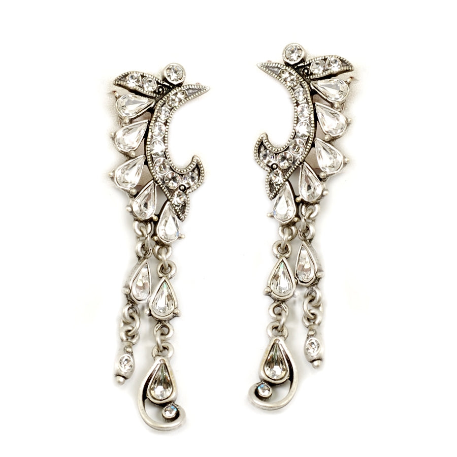 Crystal Crescent Silver Earrings E1145 - Sweet Romance Wholesale