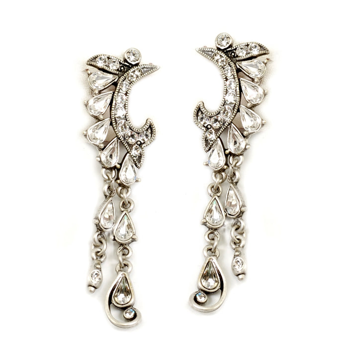 Crystal Crescent Silver Earrings
