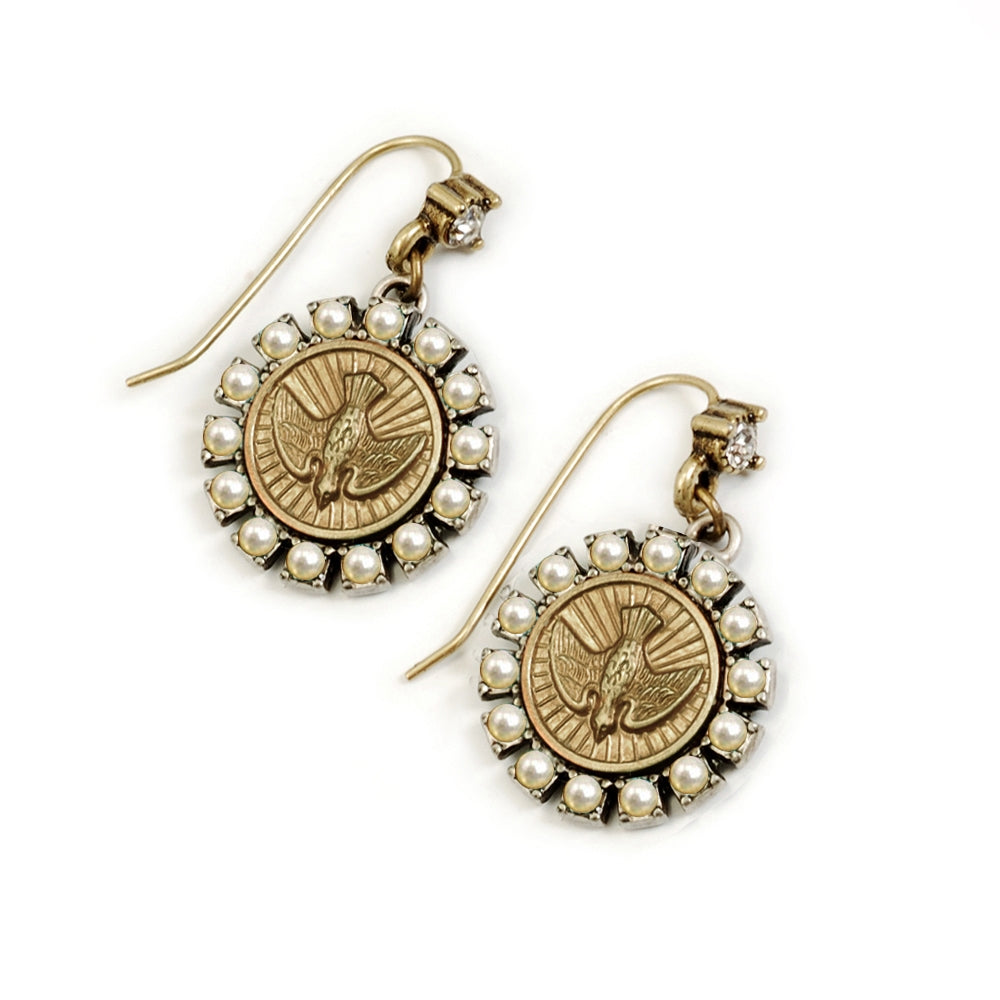 Holy Spirit Pearl Bird Coin Earrings - Sweet Romance Wholesale