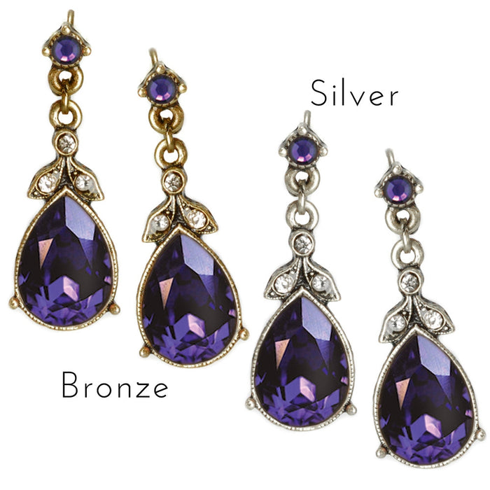 Faceted Crystal Victorian Teardrop Earrings