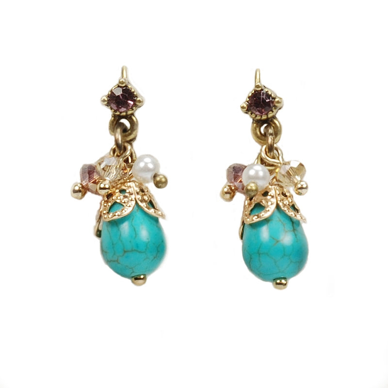Turquoise Drop Cluster Earrings E1185 - Sweet Romance Wholesale