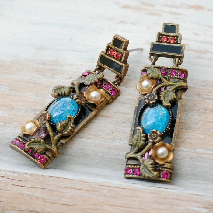 Art Deco Chinese Rose Screen Vintage Earrings E1199