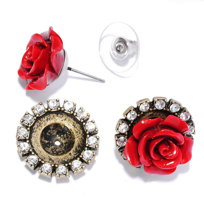 Interchangeable Carved Roses Earrings Set E1211 - Sweet Romance Wholesale