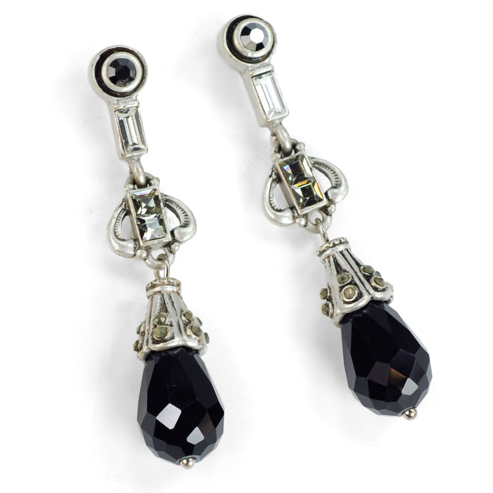 Art Deco Black and Silver Drop Earrings E1223 - Sweet Romance Wholesale