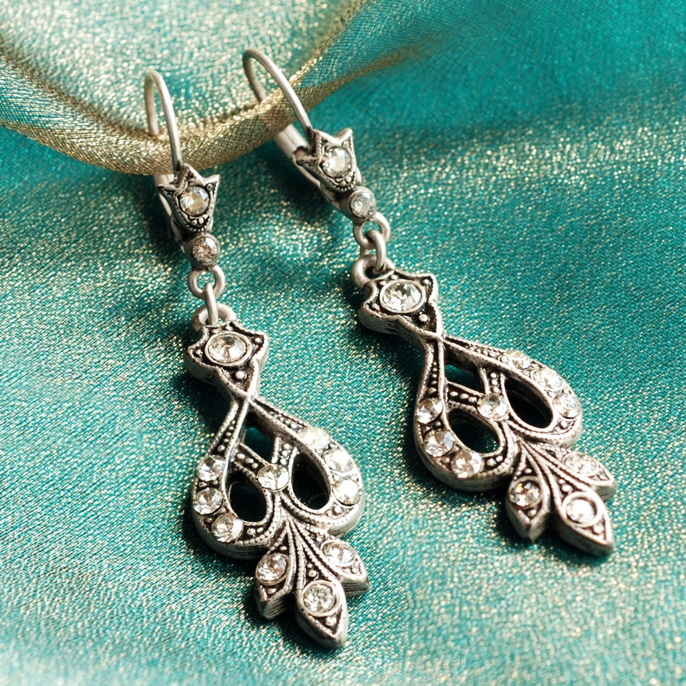 Art Deco Vintage Arabesque Silver Wedding Earrings E1226 - Sweet Romance Wholesale
