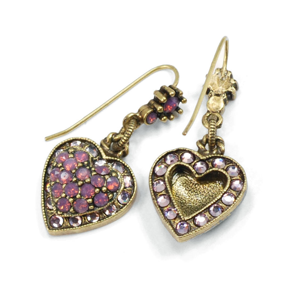 Crystal Heart Earrings E1227 - Sweet Romance Wholesale