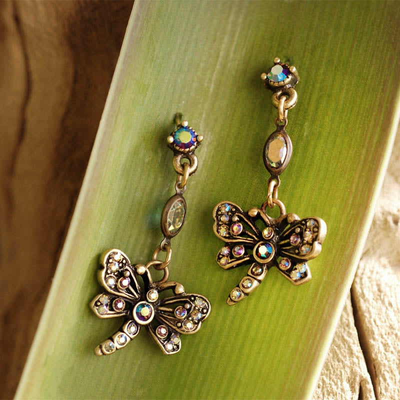 Little Dragonfly Crystal Earrings - Sweet Romance Wholesale