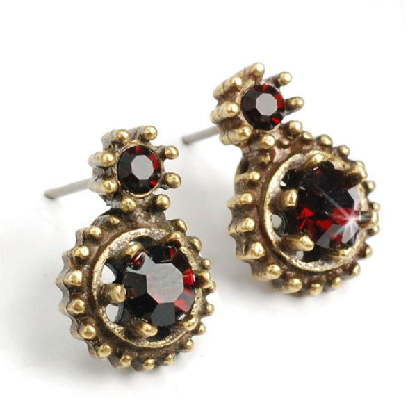 Double Stone Crystal Stud Earrings E1247 - Sweet Romance Wholesale