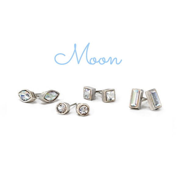 Set of 4 Crystal Stud Earrings E1259 - Sweet Romance Wholesale