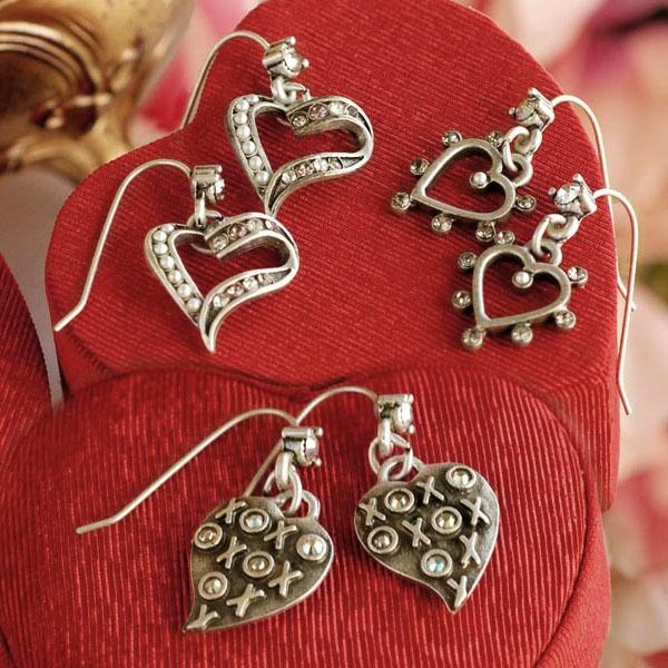 Crystal Outline Heart Earrings E1324 - Sweet Romance Wholesale