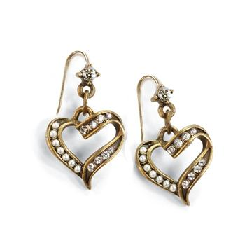 Crystal and Pearl Heart Earrings E1325 - Sweet Romance Wholesale