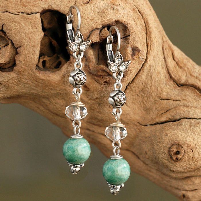 Aventurine Bead Earrings E1337 - Sweet Romance Wholesale