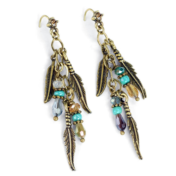 Feathers and Beads 1960s Earrings E1350 - Sweet Romance Wholesale