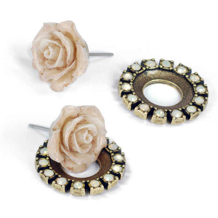 Shabby Boho Chic Halo Rose Earrings Set - Sweet Romance Wholesale