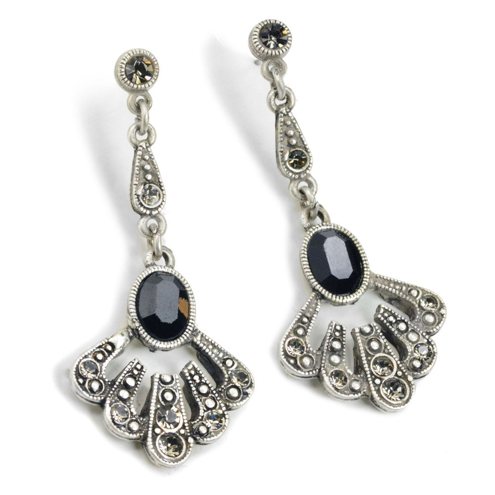Jet Tuscany Silver Earrings - Sweet Romance Wholesale