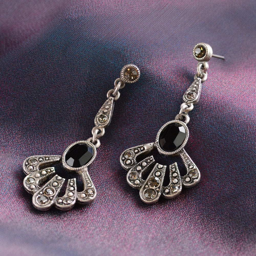 Jet Tuscany Silver Earrings