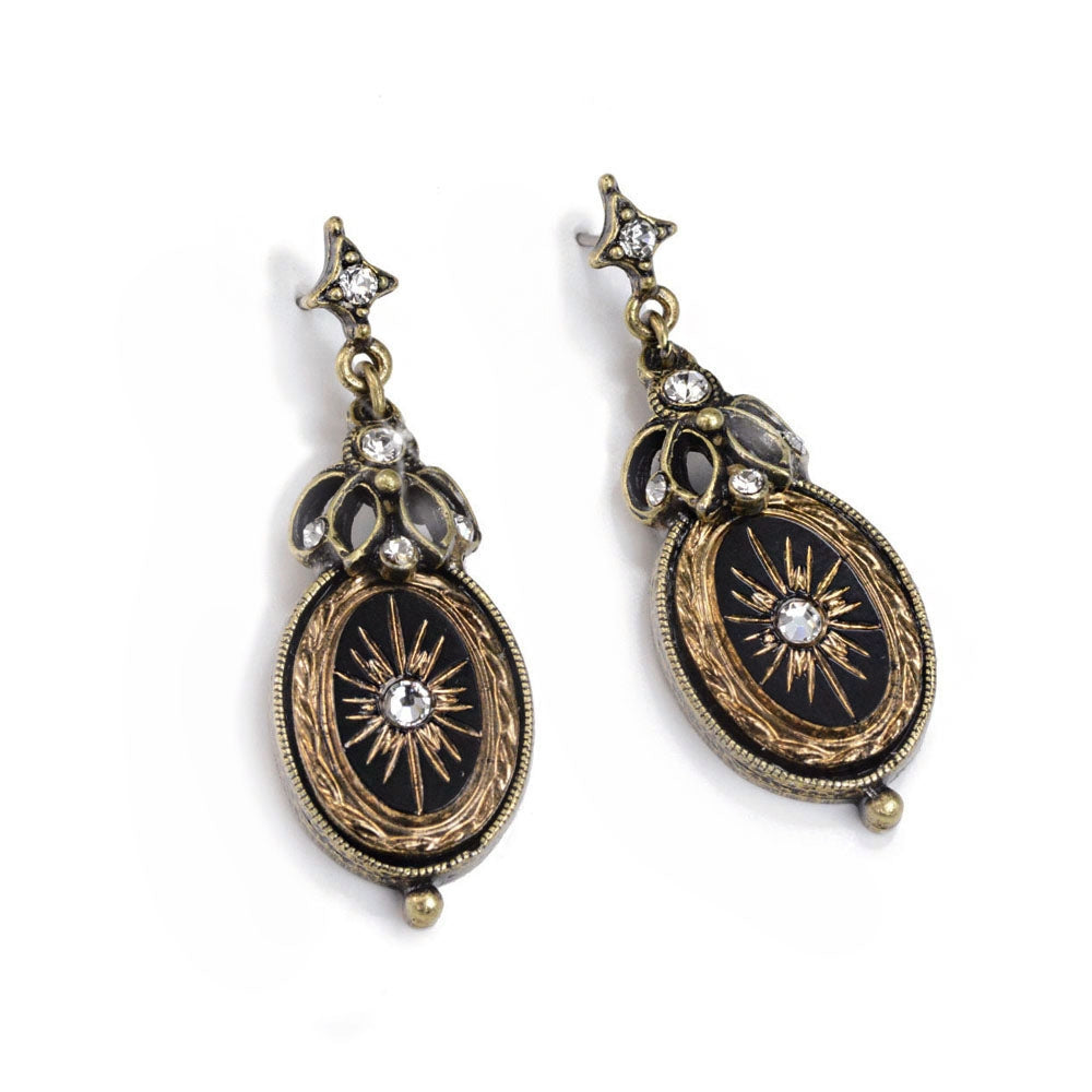 Victorian Jet Starburst Earrings E1371-JT