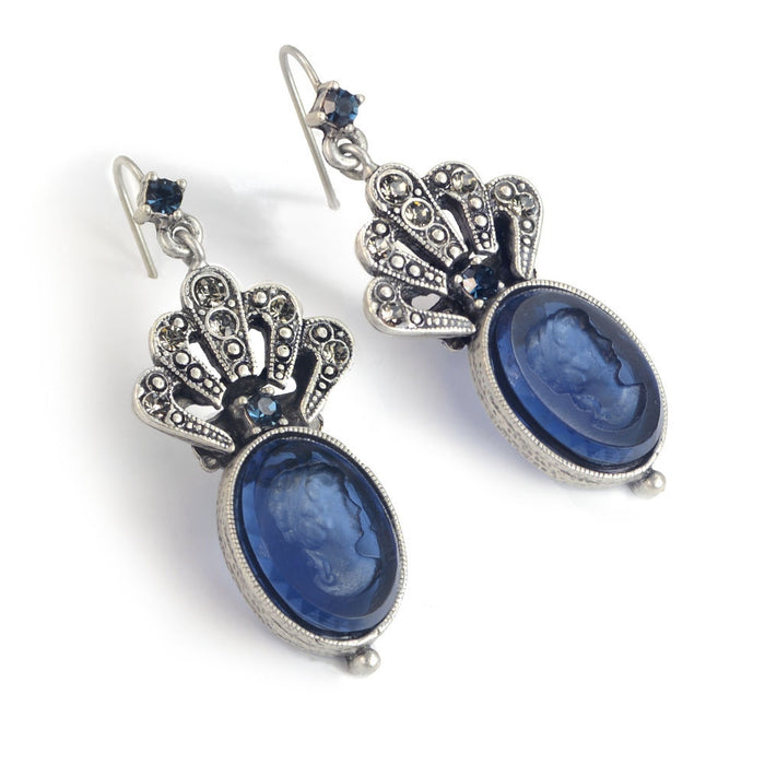 Crystal Fan Oval Intaglio Earrings E1374 - Sweet Romance Wholesale