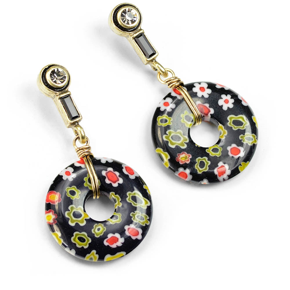 Black Millefiori Glass Deco Earrings