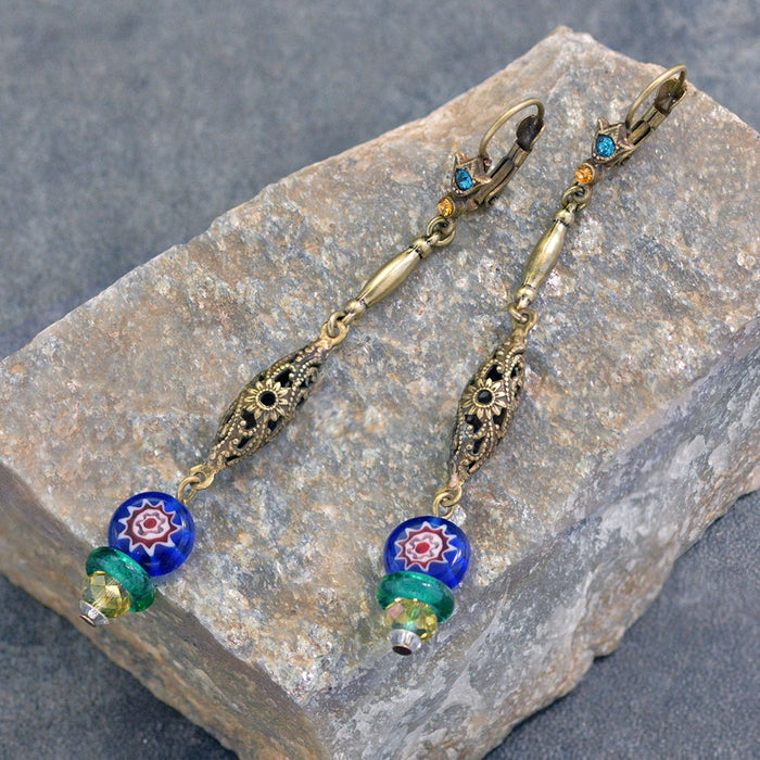 Millefiori Glass Filigree Earrings E1381 - Sweet Romance Wholesale