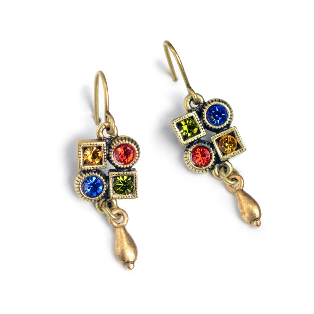 Multi Color Crystal Deco Earrings E1383 - Sweet Romance Wholesale