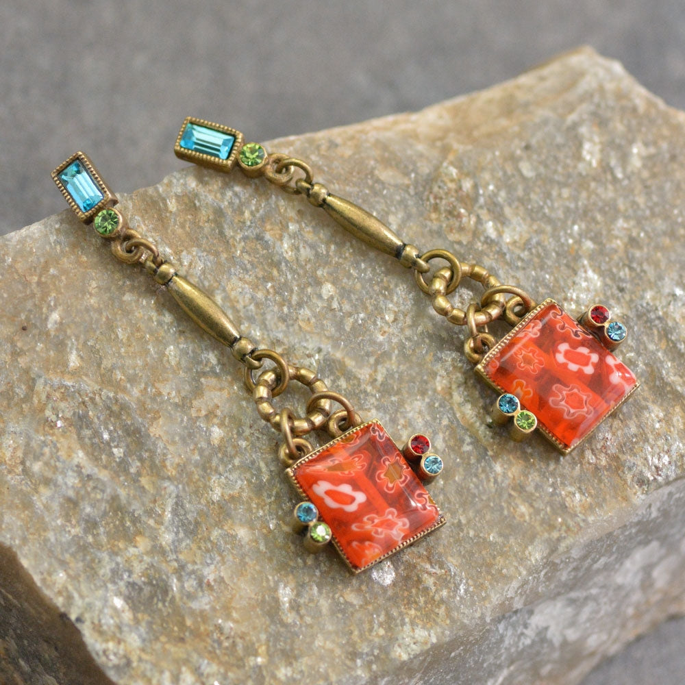 Millefiori Glass Square Drop Earrings E1384 - Sweet Romance Wholesale