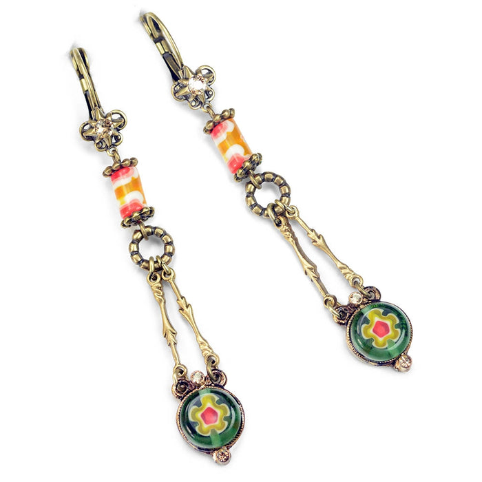 Millefiori Glass Round Drop Earrings E1385 - Sweet Romance Wholesale