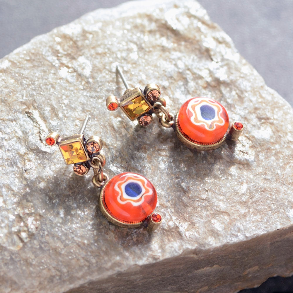 Millefiori Glass Round Candy Earrings