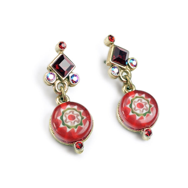 Millefiori Glass Round Candy Earrings - Sweet Romance Wholesale