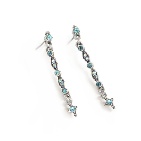 Thin Crystal Bar Earrings E1388 - Sweet Romance Wholesale